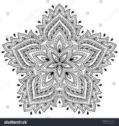 Henna tattoo mandala in mehndi style. Pattern for coloring book. Hand drawn vector illustration isolated on white background. Design element in Doodles style. Mandalas Painting, Mandalas Drawing, Pattern Coloring Pages, Mandala Coloring Pages, Doodle Patterns, Henna Patterns, Embroidery Patterns, Estilo Mehndi, Mehndi Style