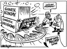 """""""Don't overreact"""", says Zuma as the Rand takes a pounding. Mark Wiggett, Herald Port Elizabeth"""
