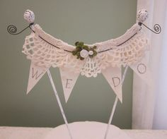 WE DO Banner/Bunting Wedding Cake Topper by Thequirkycorncrib, $24.00