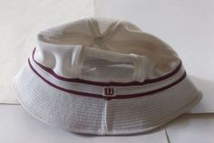 Wilson Tennis Vintage 70's Men's Bucket Hat White w Red Size XL Mesh Vented…