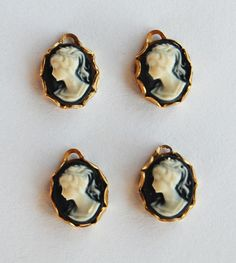 VINTAGE 4 SMALL CAMEO PENDANT BEAD BEADS BLACK & WHITE RESIN • 10x8mm | eBay