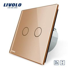 [Visit to Buy] Livolo EU Standard Wall Switch 2 Way Control Switch, Golden Crystal Glass Panel, Wall Light Touch Screen Switch, Glass Panel Wall, Glass Panels, Touch Light Switch, Home Curtains, Color Dorado, Led, Golden Color, Remote, Wall Lights