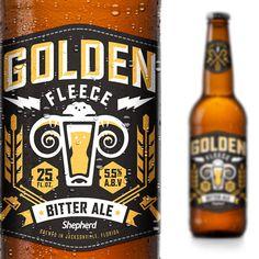 Golden Fleece Bitter Ale packaging designed by Shepherd.