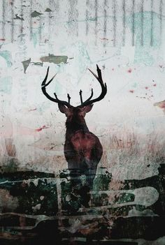 """Oliver Gal """"Red Stag"""" Canvas Wall Art"""