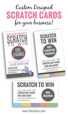 Order your custom scratch card today by emailing tammy@itwvisions.com. This can be offered as a digital download or printed cards. They can be double-sided, full color and printed on gloss stock with ultra high UV. Can be customized with whatever prize you'd like to give. rodan and fields // lularoe // business card // scratchers //scratch tickets // marketing your direct sales business by giving away free items is a great way to great product into potential customers hands. itwvisions.com