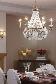 Jewelry-inspired, the Dutchess lighting collection features strands of generously-sized, ascending and faceted Clear Cut crystals which are elegantly draped to create dramatic, sparkling silhouettes. Like a statement piece of jewelry, any Dutchess light fixture is the focal point of the space.