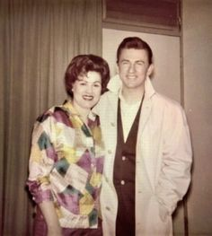 Patsy Cline and the fella is a handsome mystery..He looks familiar and possibly one of her musician friends that played during her recording sessions.....Picture was on display at the Patsy Cline Museum in Nashville...