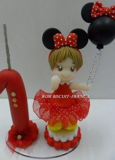 Vela personalizada da Minnie em biscuit