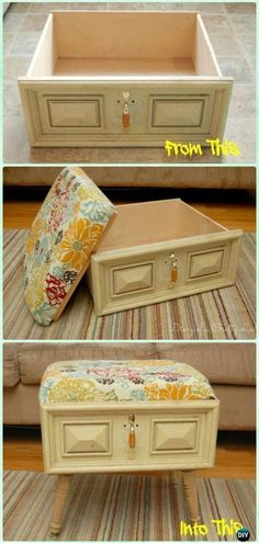 DIY Old Drawer Ottoman Instructions - Practical Ways to Recycle Old Drawers for . - DIY Old Drawer Ottoman Instructions – Practical Ways to Recycle Old Drawers for Home fu -