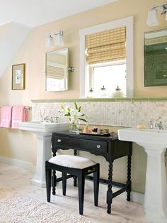 Freestanding furniture in the bath adds character...