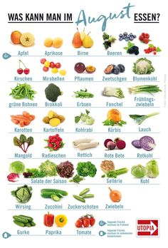 Seasonal Calendar: These regional fruits and vegetables are available in August - Saisonkalender: Dieses regionale Obst und Gemüse gibt's im August Seasonal calendar August, fruits vegetables regional seasonal food - Healthy Fruits, Healthy Foods To Eat, Healthy Life, Healthy Eating, Healthy Recipes, Granola, Eat Seasonal, Eat Smart, Food Facts