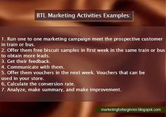 #ATL #BTL marketing activities examples.