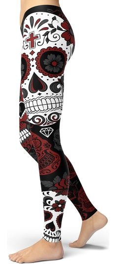 Red Sugar Skull Leggings