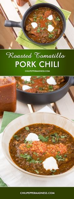 Homemade Roasted Tomatillo-Pork Chili - A homemade, no-bean, crockpot chili recipe made with pulled pork, roasted tomatillos, four different types of chili peppers and lots of seasonings.