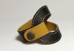 NewBiColor Leather Bracelet In  Dark Brown And Yellow by Justlena