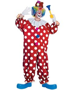 $33 CL529 Dotted Clown Carnival Funny Circus Joker Birthday Adult Halloween Costume in Clothing, Shoes, Accessories, Costumes, Men's Costumes | eBay