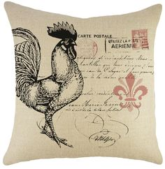 Rooster Burlap Throw Pillow