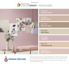 I found these colors with ColorSnap® Visualizer for iPhone by Sherwin-Williams: Insightful Rose (SW 6023), Sashay Sand (SW 6051), Mexican Sand (SW 7519), Wool Skein (SW 6148), Delightful (SW 6289), Townhouse Tan (SW 7712), Pink Shadow (SW 0070).