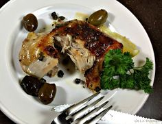 Olla-Podrida: Chicken with Olives & Capers Beautiful Chickens, Pitted Olives, Sweet Paul, Chicken With Olives, Lemon Wedge, Organic Chicken, Poultry, Mashed Potatoes, Pork