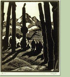 """Edwin Holgate, Canadian (1892-1977) -  """"Departing People, Skeena River, 1926"""";  wood engraving on paper"""