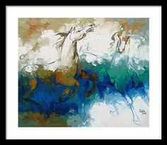 Abstract Framed Print featuring the painting Abstract Blue Horse Painting Art by Sajida Hussain