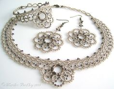Bracelet, necklace and earrings set. All tatted with oyster colored thread.