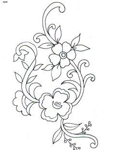 hand embroidery designs for neck Floral Embroidery Patterns, Hand Embroidery Designs, Applique Designs, Textile Patterns, Flower Patterns, Flower Designs, Flower Embroidery, Motifs Textiles, Bordados E Cia