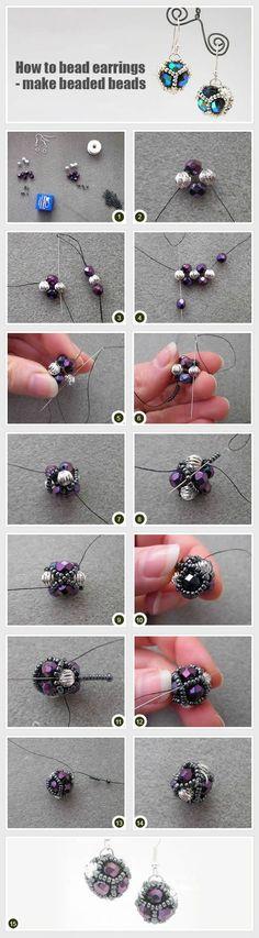 Beaded beads tutorials and patterns, beaded jewelry patterns, wzory bizuterii koralikowej, bizuteria z koralikow - wzory i tutoriale Diy Jewelry Projects, Jewelry Making Tutorials, Beading Tutorials, Jewelry Crafts, Beaded Beads, Beaded Jewelry, Fine Jewelry, Earring Tutorial, Beads Tutorial