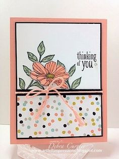 Stampin Up Peaceful Petals & SAB Sweet Sorbet dsp - thinking of you card
