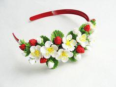 Strawberry headband baby headband flower girls birthday