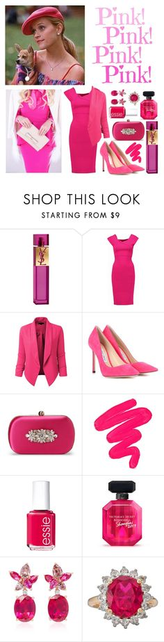 """""""Elle Woods"""" by crown-princess-ani ❤ liked on Polyvore featuring Yves Saint Laurent, Roland Mouret, LE3NO, Jimmy Choo, Badgley Mischka, Sigma, Essie, Victoria's Secret and Anabela Chan"""