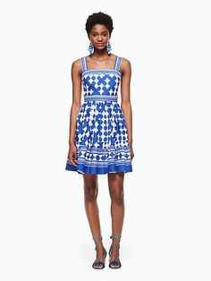 Kate Spade - Lantern Poplin Flounce Dress in cobalt blue/fresh white | starting in size 00 | Boasting a pretty print inspired by the look of Moroccan lanterns, this poplin fit-and-flare dress is a little bit girlish yet still very stylish. | size 4 measures 29.5 inches long.