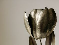 German silver tulip flower sculpture metalwork with by EsUqbar, $249.00