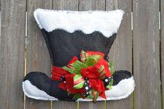 FROSTY Snowman Hat Burlap Door Hanger by monkeylynnedesigns, $38.00