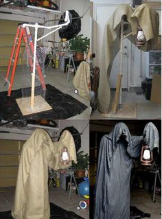Homemade Scarecrow Homemade Scarecrow Related Genius Couples Halloween Costumes ~ Genius College Halloween Costume Ideas for Last-Minute College Halloween Costume Ideas Soirée Halloween, Creepy Halloween Decorations, Adornos Halloween, Halloween Haunted Houses, Halloween Party Decor, Holidays Halloween, Diy Halloween Reaper, Halloween Garden Ideas, Diy Halloween Graveyard