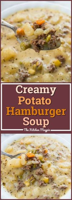 Creamy Potato and Hamburger soup! This hamburger soup is the perfect way to warm… Creamy Potato and Hamburger soup! This hamburger soup is the perfect way to warm up this winter! You can make it in the crockpot or stove top! From Karlynn Crock Pot Recipes, Easy Soup Recipes, Crock Pot Cooking, Stove Top Recipes, Potato Recipes In Crockpot, Potato Meals, Russet Potato Recipes, Cooking Ribs, Ground Beef