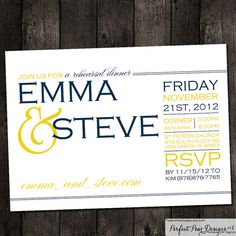 Rehearsal Dinner Invitation, or customize for Bridal Shower, Baby Shower, or Retirement, Lemonade Yellow, Navy Blue - nautical, Pick any color theme! by Perfect Pear Designs, $16.00