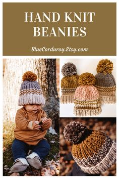 Nothing is quite as cozy as a handmade knit beanie. These beanies are available in sizes from Adult to newborn. #knitbeanie #winter2020 #knitbabyhat #hatforboys #toddlerhat #bluecorduroyhats Pom Pom Beanie Hat, Knit Beanie, Beanie Hats, Beanies, Baby Hats Knitting, Hand Knitting, Knitted Hats, Baby Sun Hat, Baby Girl Hats