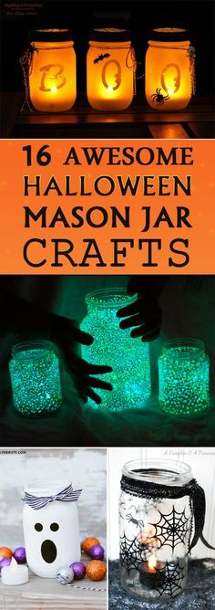 16 AWESOME Halloween Mason Jar Crafts From creepy to spooky to hauntingly pretty these Halloween mason jar crafts are sure to brighten up your house this holiday season. The post 16 AWESOME Halloween Mason Jar Crafts appeared first on Halloween Crafts. Halloween Tags, Theme Halloween, Diy Halloween Decorations, Costume Halloween, Holidays Halloween, Creepy Halloween, Kids Halloween Crafts, Scary Witch, Halloween Cookies