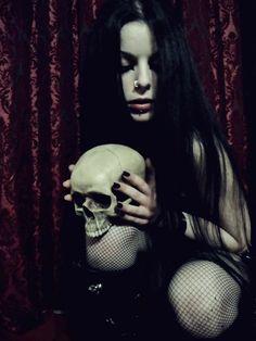 Lovely Goth girl with Skull