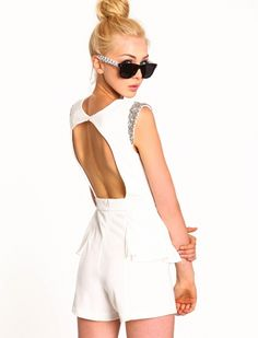 763bd88e3ad Womens and Jumpsuits  Ivory White and Silver Sparkle Romper  Clothes