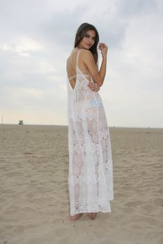 TULUM cover up in white paris lace — 9seed | Designer Beach Coverups