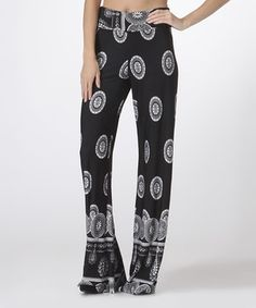Look what I found on #zulily! Black Abstract Palazzo Pants by Trendology #zulilyfinds