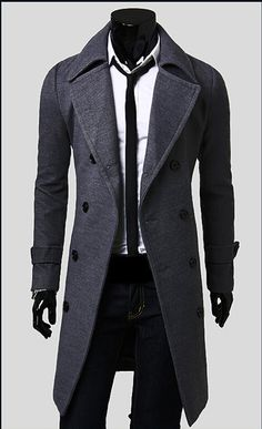 Men's Slim Stylish Trench Coat Winter Long Jacket Double Breasted Overcoat Men trench coat Thicken coat male man jacket