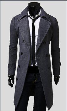 Men's Slim Stylish Trench Coat Winter Long Jacket Double Breasted Overcoat Men trench coat Thicken coat male man jacket