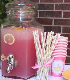 Pink lemonade and orange apple cider would be great drinks for the shower!