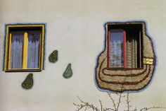 """A person in a rented apartment must be able to lean out of his window... take a long brush and paint everything outside within arm's reach. So that it will be visible from afar... that someone lives there who is different from the imprisoned, enslaved, standardised man who lives next door."" (Friedensreich Hundertwasser, Window Rights Manifesto)."