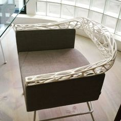 New RIO chair with printed back by Impression 3d, Furniture Inspiration, Design Inspiration, 3d Printing Diy, 3d Cnc, Digital Fabrication, 3d Prints, Chaise Sofa, Unique Furniture