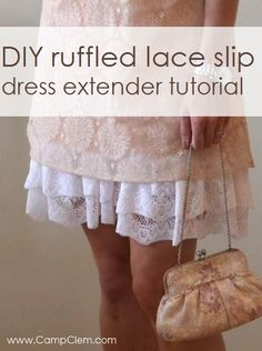 DIY Clothing & Tutorials: Old Slip Gets A Lacy Double Ruffle Hem {dress extender tutorial} Sewing Tutorials, Sewing Hacks, Sewing Crafts, Sewing Patterns, Sewing Projects, Diy Clothing, Sewing Clothes, Slip Extender, Diy Lace Extender