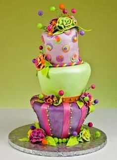 Pink, purple and green whimsical cake